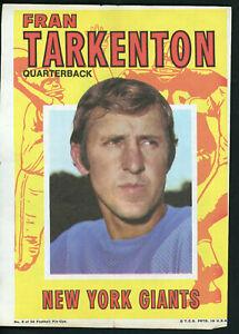 "1971 TOPPS FOOTBALL POSTER #5 FRAN TARKENTON 5"" x 7"" Excellent Condition!"