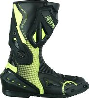 Motorcycle Waterproof Motorbike Leather Boots Sport Racing Mens Touring Fluro