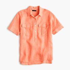 J.CREW Short-sleeve popover shirt in Irish linen Size 6T golden rose Coral Top
