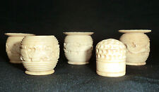 FOUR  ANTIQUE HAND CARVED CHINESE BONE THREAD  BARRELS CIRCA 1840'S PLUS THIMBLE