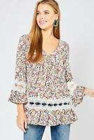 Entro Floral Print Long Sleeve V-Neck Boho Tunic Top