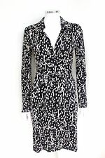 DVF Diane von Furstenberg Jeninne Black White Silk Wrap Dress 4 uk 8