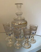 More details for antique french decanter set liqueur glasses shot 19th century enamelled 1890s