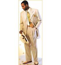 Mens 80's Style Ivory Linen Suit Blazer Dinner Tuxedo Jacket Business Coat Pant