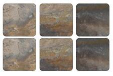 Pimpernel Earth Slate Effect Coasters Set of 6 Cork Backed Hardboard Drink Mat