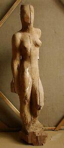 Russian Ukrainian Soviet floor author's sculpture statue girl nude cubism wood