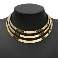 Choker Necklace Women Gorgeous Metal Multi Layer Statement Bib Collar Necklace