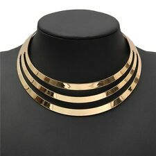 Choker Necklace Women Gorgeous Metal Multi Layer Statement Bib Collar Necklace