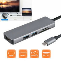 MultiPort 5 in 1 USB-C Hub Type- C SD TF Card Reader Adapter HDMI For Laptop