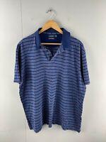Gazmans Men's Short Sleeve Casual Polo Shirt Size 2XL Blue Stripe
