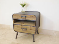 Iron Wooden Retro Industrial Cabinet 3 Drawer Vintage Bedside Media Storage Unit