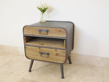 Iron Wooden Retro Industrial Cabinet 3 Drawer Vintage Bedside Media Storage Unit