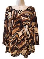Dressbarn Women's Blouse Plus 2X 3/4 Sleeve Pullover Top
