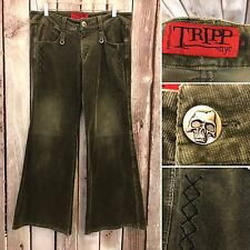 Tripp Nyc Womens Pants Skull Hot Topic Size 11 Green Bondage Goth Corduroy