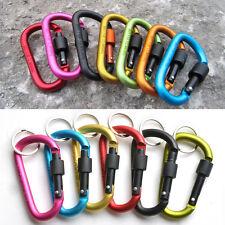 6PCS Camping Outdoor Aluminum Alloy D Screw Lockin Carabiner Clip Hook Key Chain