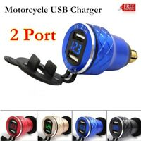 4.2A Aluminum Motorcycle Dual USB Charger DIN Socket Voltmeter For Motorbike UK
