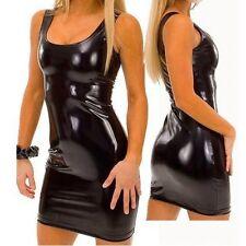 UK Dress Size 8 to 12 Black Sexy Rubber UPVC Dress & Black PVC Thong & Lace Mask