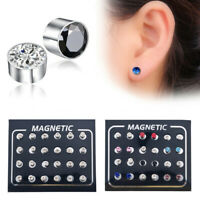 12 Pair Mens Women Non Piercing Ear Stud Clip On Round Magnetic Earrings Hotsale