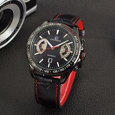 Forsining date automatique mécanique bracelet montre analogique pour homme bracelet en cuir noir