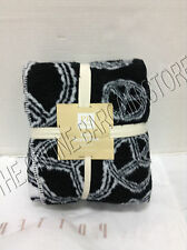 Pottery Barn Teen Peace Out Sign Recycled Throw Blanket Plush Black 50x60