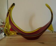 Abstract Freeform Murano glass sculptural bowl Red & Amber Retro 25cm