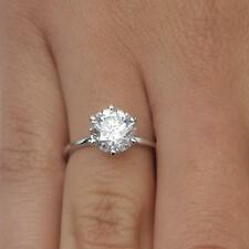 3.00 Ct Solitaire Diamond Engagement Ring 14K White Gold Round Cut Size L M N O