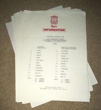 More details for original 1995-96 liverpool colour press team sheets 21 x league & cup + 1 b&w