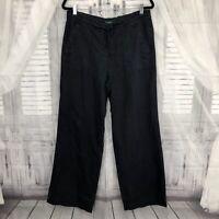 Lauren Ralph Size 10 Wide Leg Linen Pants Black Pocket Drawstring High Rise B21