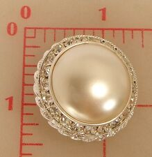 "1 silver metal Czech rhinestone shank button glass pearl center 1.25"" 33mm 1024"