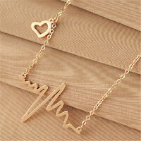Womens Fashion Gold Heart Beat Pendant Necklace Jewelry Metal with Chain Made