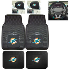 7pc NFL Miami Dolphins Heavy Duty Rubber Floor Mats & Steering Wheel Cover