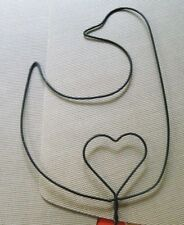 Country Wall Decoration Bird Duck Goose & Heart Wire Rug Beater w Wood Handle