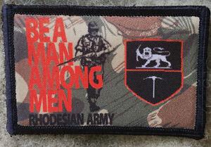 Be A Man Among Men Rhodesian Camo Morale Patch Military Tactical  FAL Rhodesia