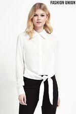 Fashion Union Tie Front Shirt White Size UK 14 LF075 NN 13