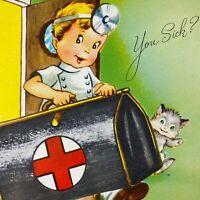 Vintage Mid Century Greeting Card Cute Little Boy Doctor Bag Kitten Get Well