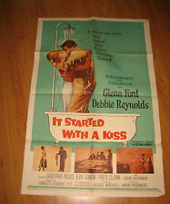 It Started With a Kiss Orig, 1sh Movie Poster '59 Glenn Ford & Debbie Reynolds