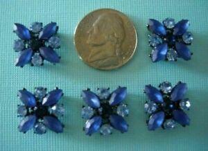 2 Hole Slider Beads X-Flower Dark Blue/Light Blue Made with Swarovski Elements#5
