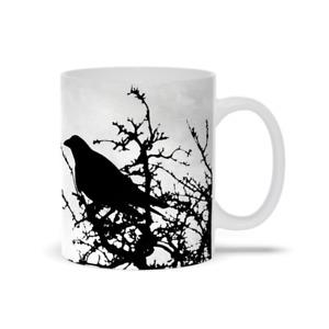 Coffee Mug Cup 11oz 15oz Design 43 bird crow raven grey black L.Dumas