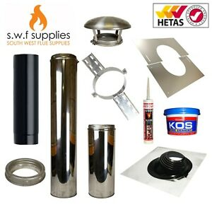 """Shed/Summerhouse Twin Wall Flue Kit For Multifuel Stove Wood Burner Chimney 5""""6"""""""