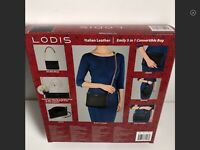 NEW LODIS Emily Leather Clutch Wristlet Crossbody 5 in 1 Convertible Bag BLACK