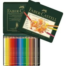 FABER CASTELL POLYCHROMOS COLOUR PENCILS SET OF 24 IN TIN ART COLOURING PENCILS