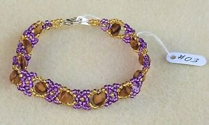 Lavender & Gold Beaded NAVAJO Bracelet GHOST Beads #03