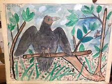 MC 5 cent Jones  Outsider  Folk Art painting signed-  Bird on a Limb