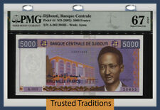 New ListingTt Pk 44 Nd (2002) Djibouti 5000 Francs Pmg 67 Epq Stunning Monster Gem Whoa!