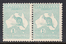 1927 - Kangaroo 1/- Harrison pair Mint Lighlty Hinged SG 40ba ACSC $400.