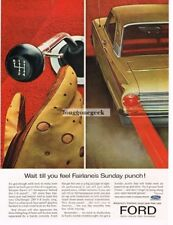 1963 Ford Fairlane Gold 2-door Coupe 4 on the floor Vtg Print Ad