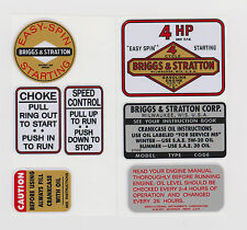 BRIGGS 4 HP DECAL SET WITH CHOKE & SPEED CONTROL DECALS