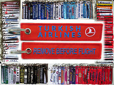 TURKISH AIRLINES tag keychain keyring REMOVE BEFORE FLIGHT Turk Hava Yollari