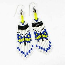 BLUE BLACK SEED BEADS BUTTERFLY EARRINGS BEADED JEWELRY