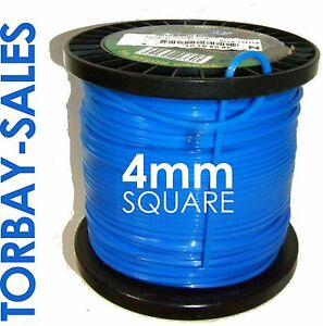 5m DR Strimmer Cord Line Wire String Nylon 4mm Square Petrol TRIMMER HEAVY DUTY